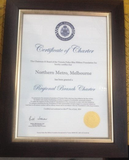 The Victoria Police, Blue Ribbon Foundation, Certificate of Charter - Northern Metro, Melbourne